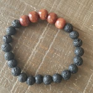 Jewelry - Black Lava Stone and Wood Bead Bracelet